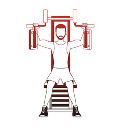 fitness man on weight machine red lines vector image