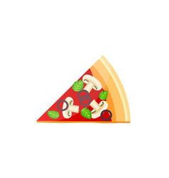 flat delicious pizza slice icon with mushrooms vector image