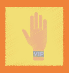 Flat shading style icon hand vip vector