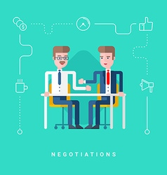 Flat Style Conceptual Two Businessmen Negotiate vector