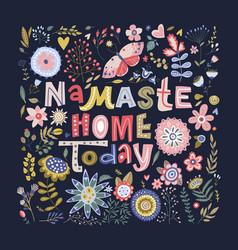 Floral color lettering card vector