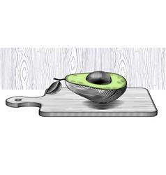 fresh organic avocado on on wood cutting board vector image