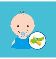 Fun plane green toy baby icon vector