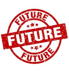 Future round red grunge stamp vector
