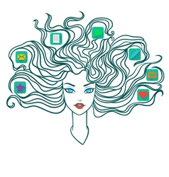Girl with social media icons in hair vector