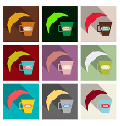 Good morning croissant and coffee vector