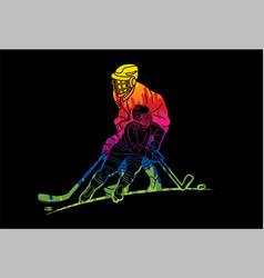 Group ice hockey players action cartoon sport vector