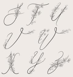 hand drawn flowered alphabet monogram vector image