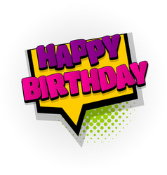 Happy birthday comic book text pop art vector