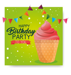 Happy birthday cupcake card vector