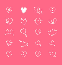 heart thin line set vector image