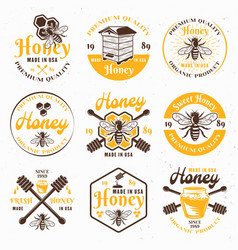 honey and apiary set colored emblems vector image