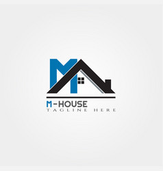 House icon template with m letter home creative vector