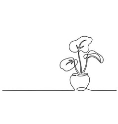 House plant in pot continuous one line drawing vector