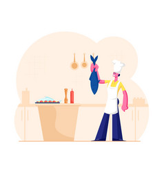 housewife or chef cooking seafood meal young vector image