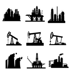 Icons of oil derricks and gas mining plants vector