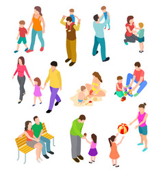Isometric family children parents in different vector