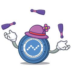 Juggling nano coin mascot cartoon vector