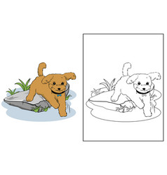 Jumping dog in garden coloring page vector