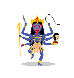 kali hindu goddess isolated on white vector image