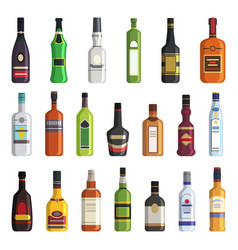 Liqueur whiskey vodka and other bottles vector