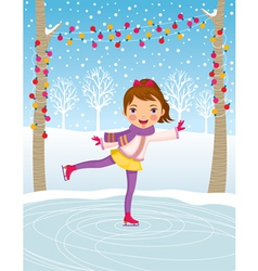 Little girl ice skating vector