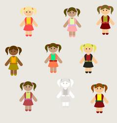 Little girls kids cute girls set poster vector