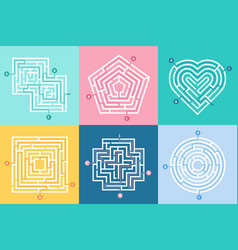 Maze entrance find right way kids labyrinth game vector