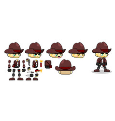 Mini character nomad boy kit cowboy vector