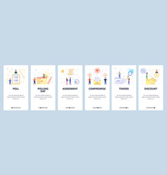 mobile app onboarding screens calendar poll list vector image
