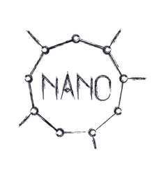 Nano molecular structure icon in blurred vector