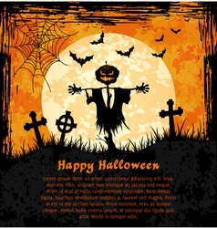 Orange grungy halloween background with scarecrow vector