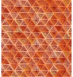 Ornate hand-drawn brown triangles pattern vector image