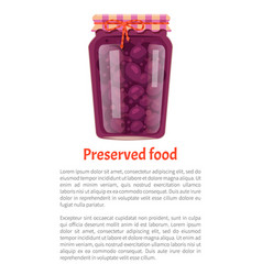 Preserved food poster canned plums in glass jar vector