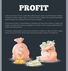 Profit sacks full money bag vector