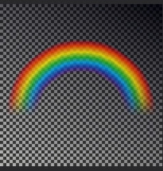 rainbow arc isolated on checkered background tran vector image