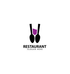 Restaurant logo design with spoons and glass vector