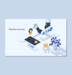 robotic arm for industry machine learning and vector image