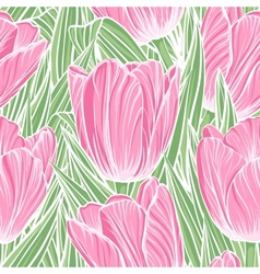 Seamless pattern with tulips vector image