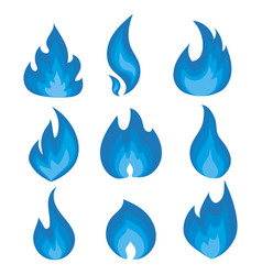 set blue flames a collection of vector image