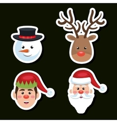 set faces santa reindeer snowman and elf christmas vector image