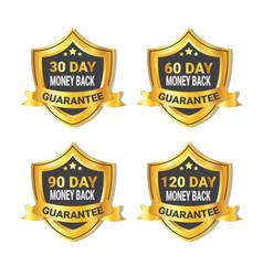 set golden shield stickers money back guarantee vector image