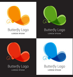 set of colorful butterfly logo template vector image