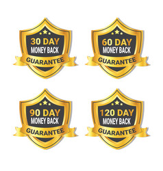 Set of golden shield stickers money back guarantee vector