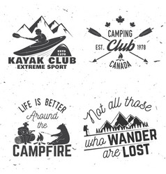 Set of kayak camping and caravanning club badge vector