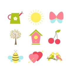 Set of spring icons vector