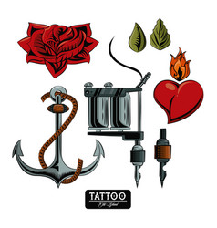 Set of tattoo drawings vector
