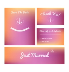 Set wedding cards vector