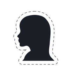silhouette head female communication vector image
