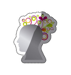 silver contour human with figures icon vector image